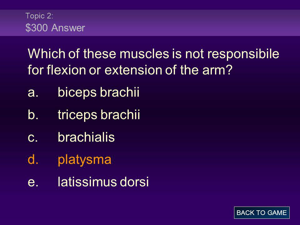 Topic 2: $300 Answer Which of these muscles is not responsibile for flexion or extension of the arm