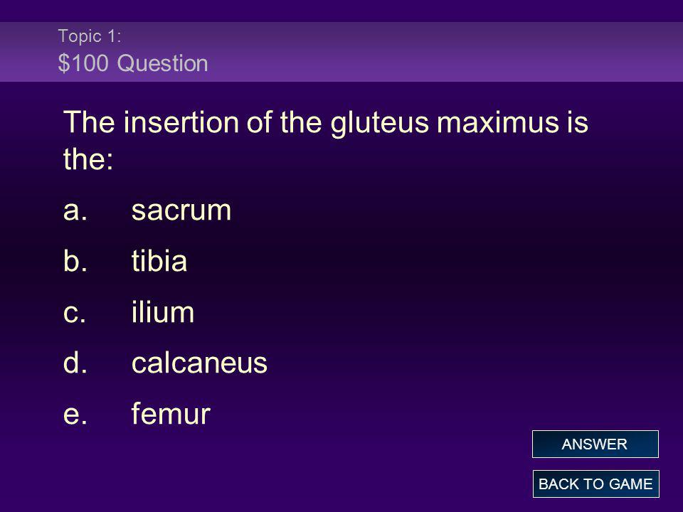 The insertion of the gluteus maximus is the: a. sacrum b. tibia