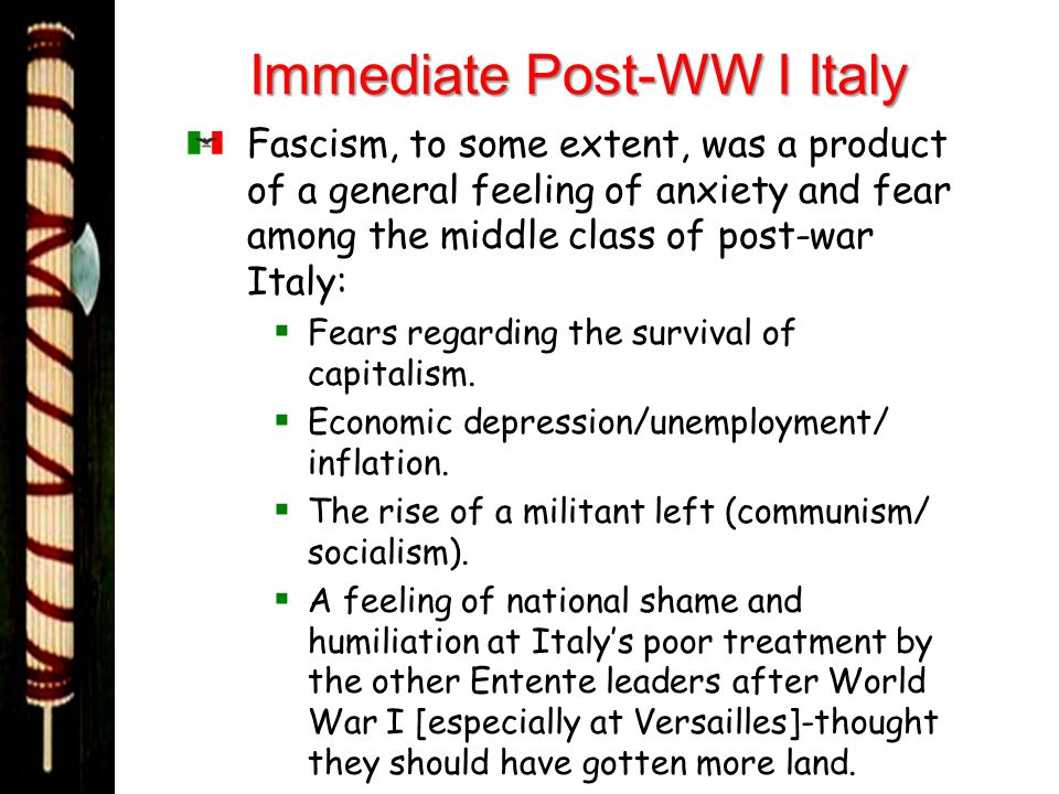 Immediate Post-WW I Italy