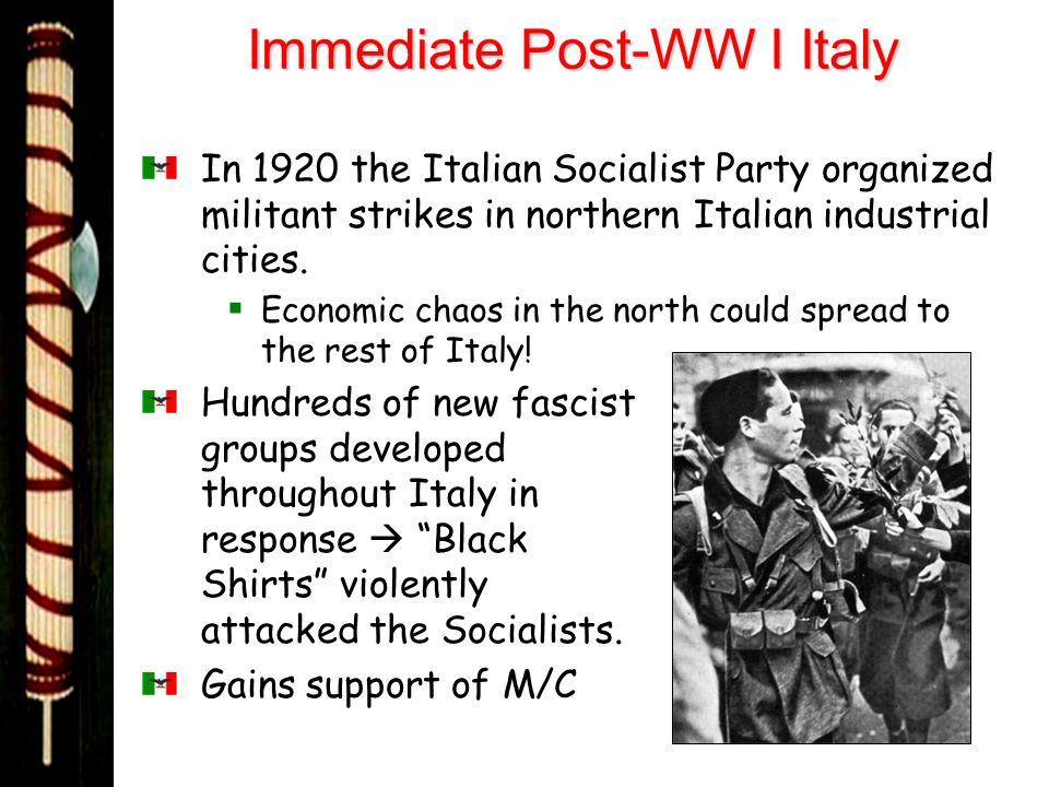 Immediate Post-WW I Italy