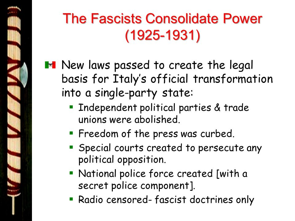 The Fascists Consolidate Power (1925-1931)