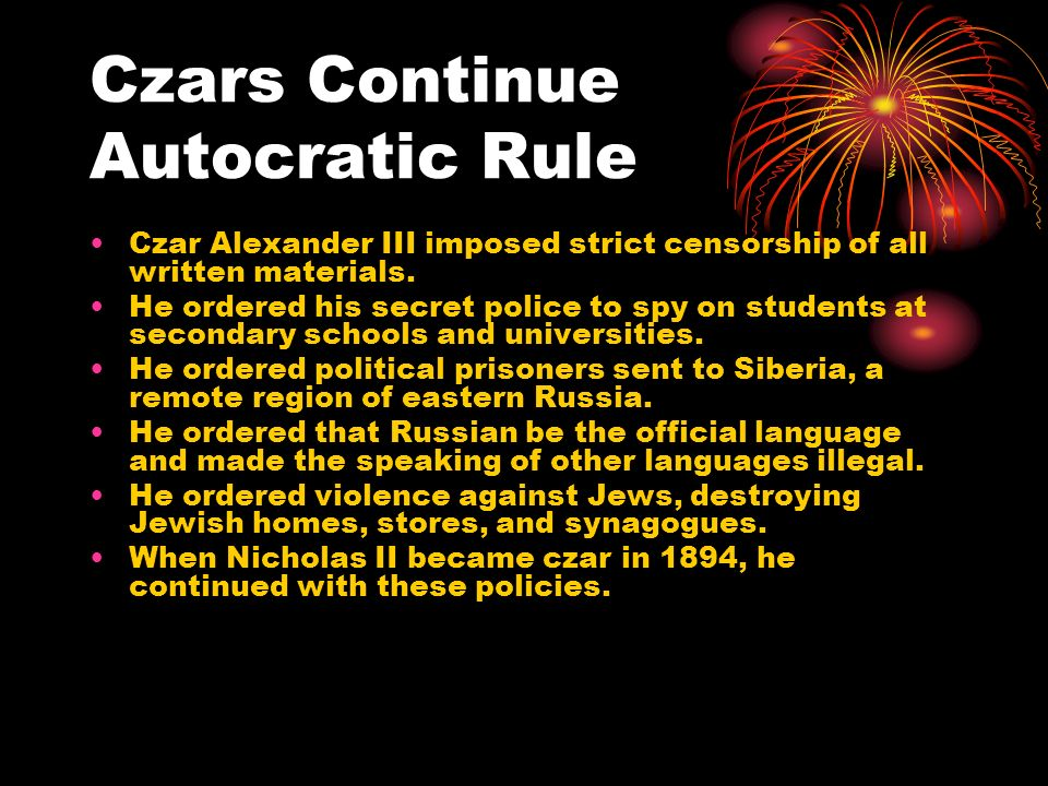 Czars Continue Autocratic Rule