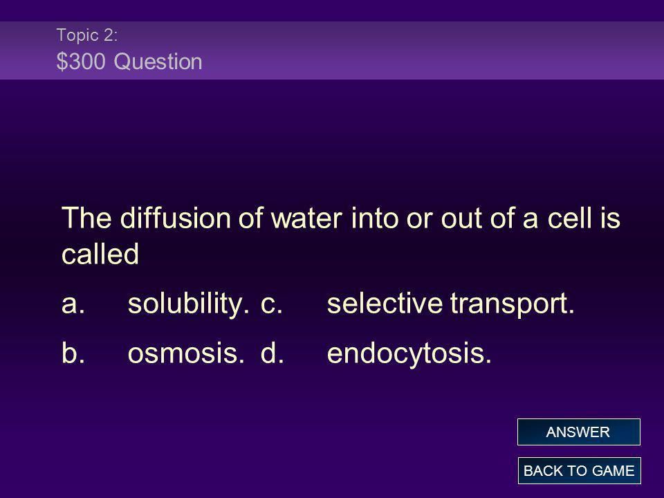 The diffusion of water into or out of a cell is called