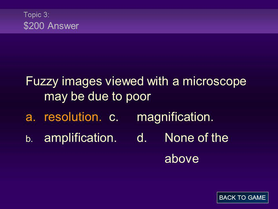 Fuzzy images viewed with a microscope may be due to poor
