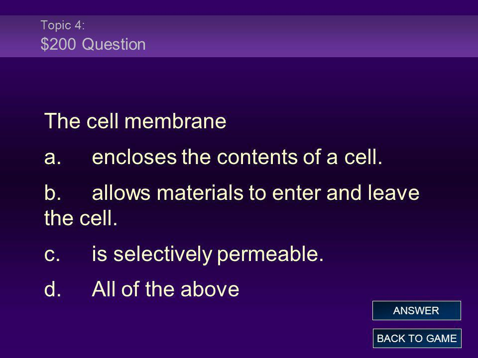 a. encloses the contents of a cell.