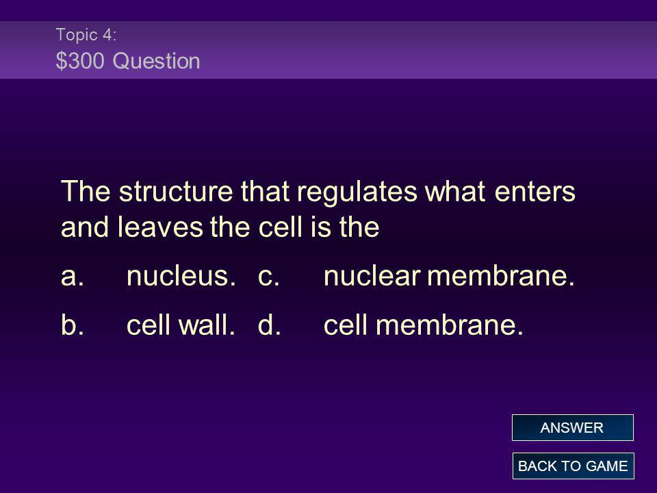 The structure that regulates what enters and leaves the cell is the