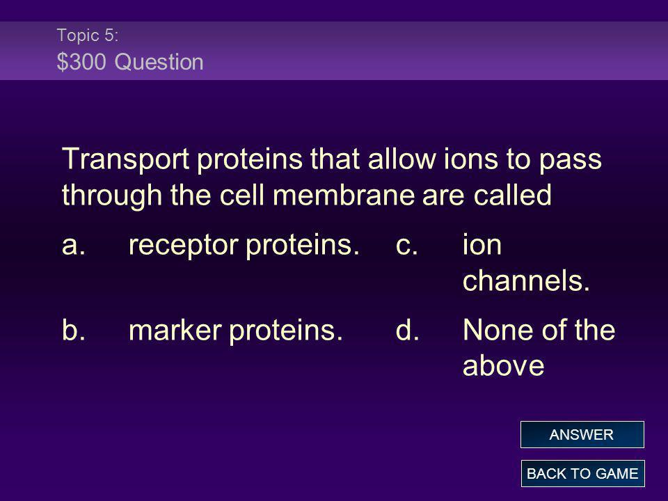 a. receptor proteins. c. ion channels.