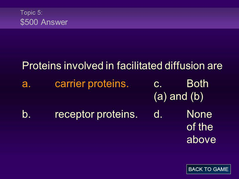 Proteins involved in facilitated diffusion are