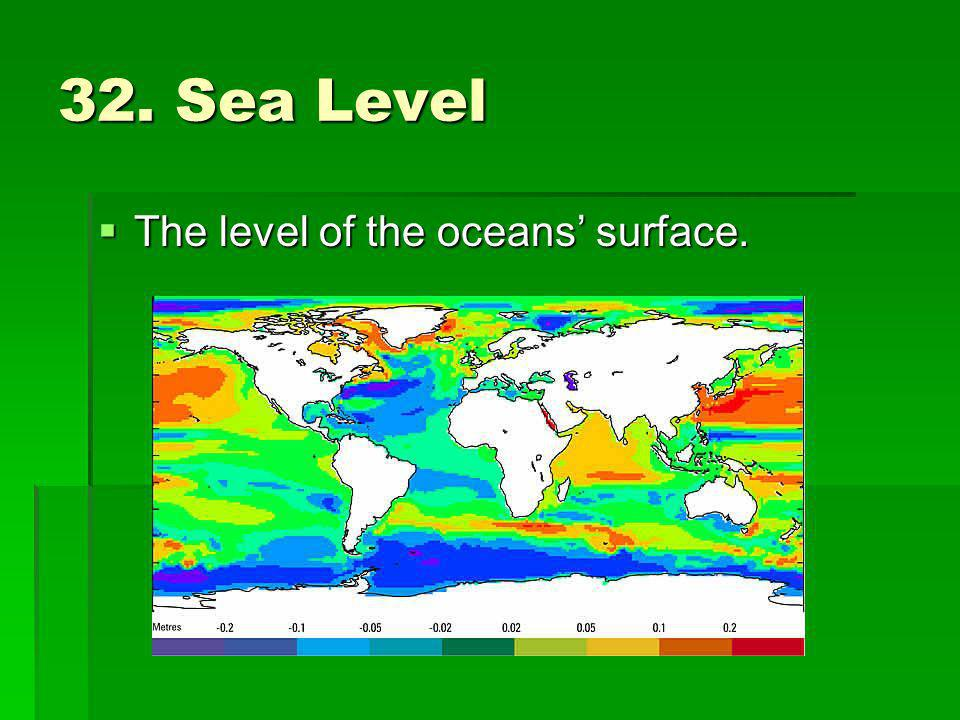 32. Sea Level The level of the oceans' surface.