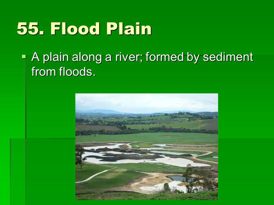 55. Flood Plain A plain along a river; formed by sediment from floods.