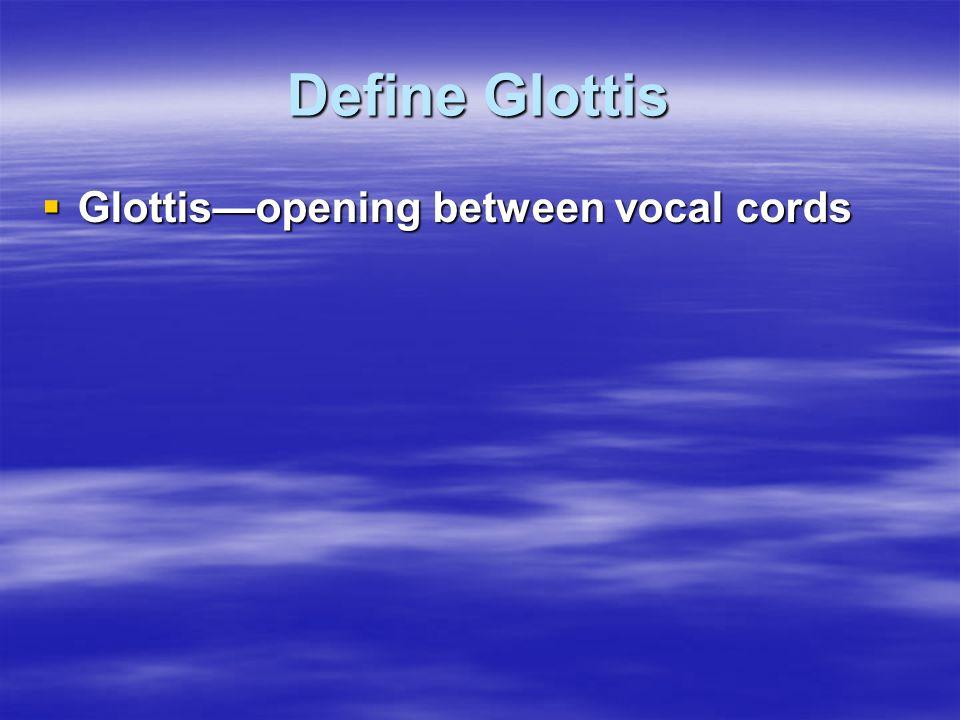 Define Glottis Glottis—opening between vocal cords