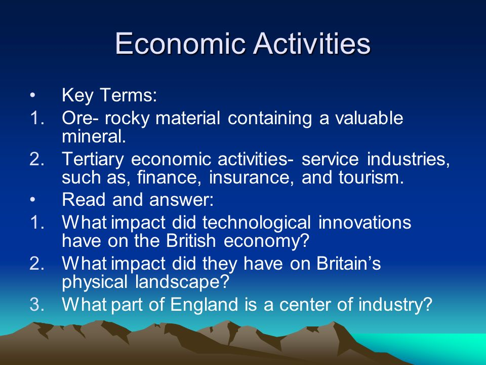 Economic Activities Key Terms: