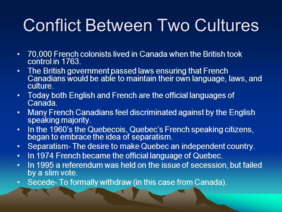 Conflict Between Two Cultures
