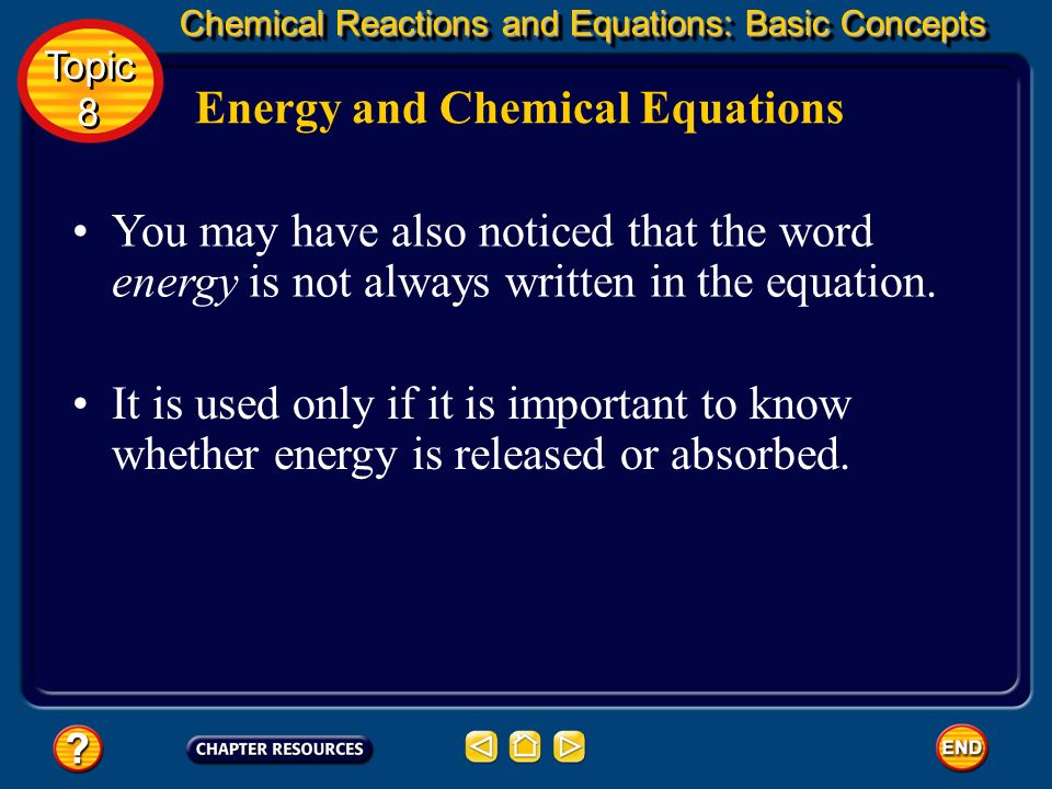 Energy and Chemical Equations