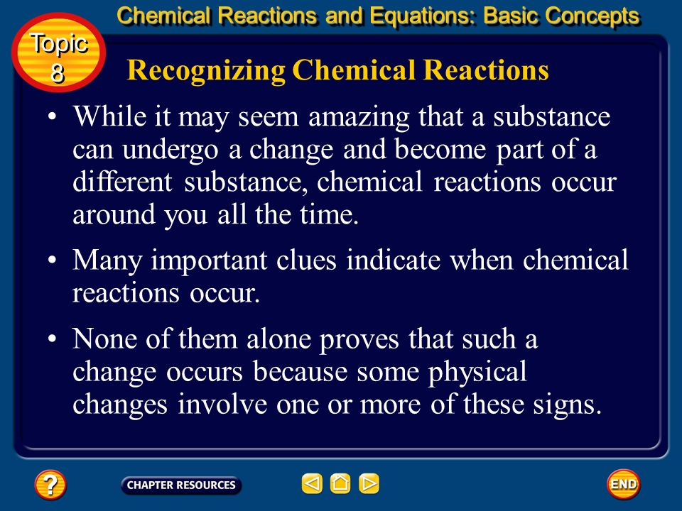 Recognizing Chemical Reactions