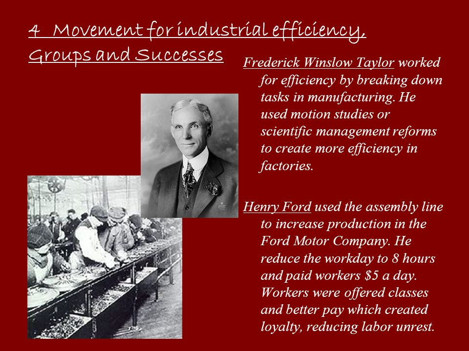 4 Movement for industrial efficiency, Groups and Successes