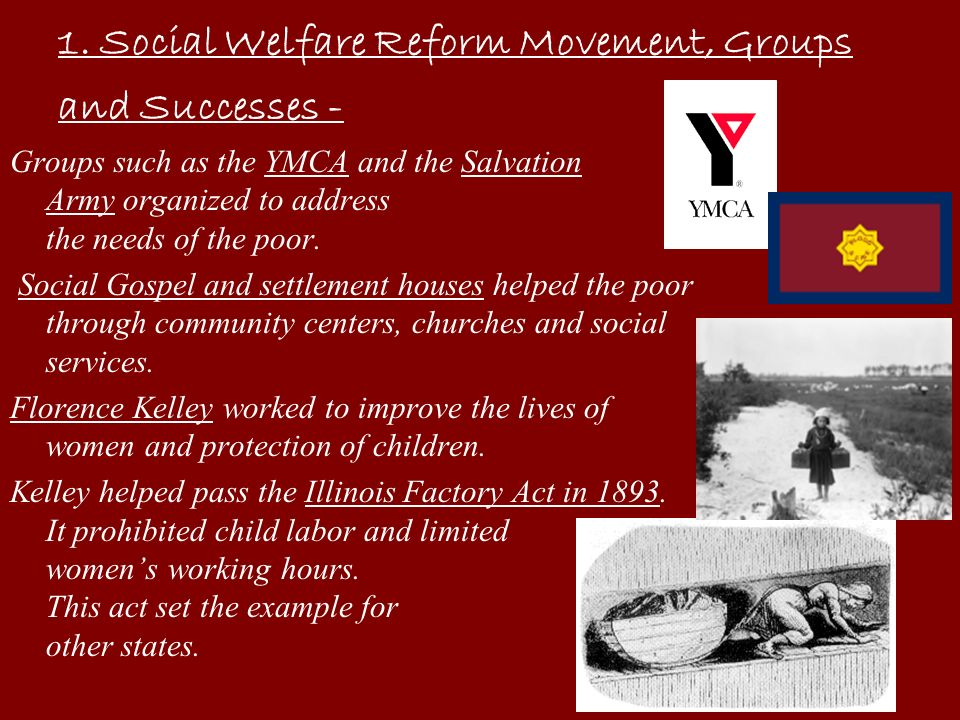 1. Social Welfare Reform Movement, Groups and Successes -