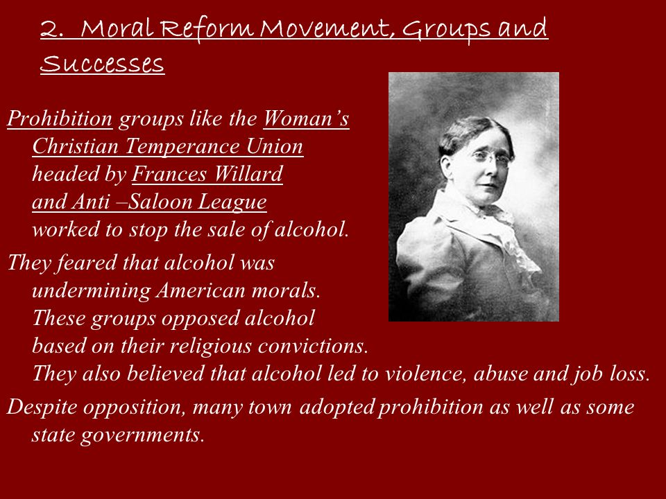 2. Moral Reform Movement, Groups and Successes
