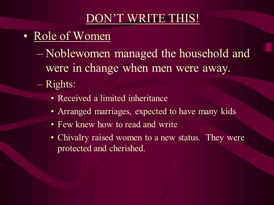 DON'T WRITE THIS! Role of Women