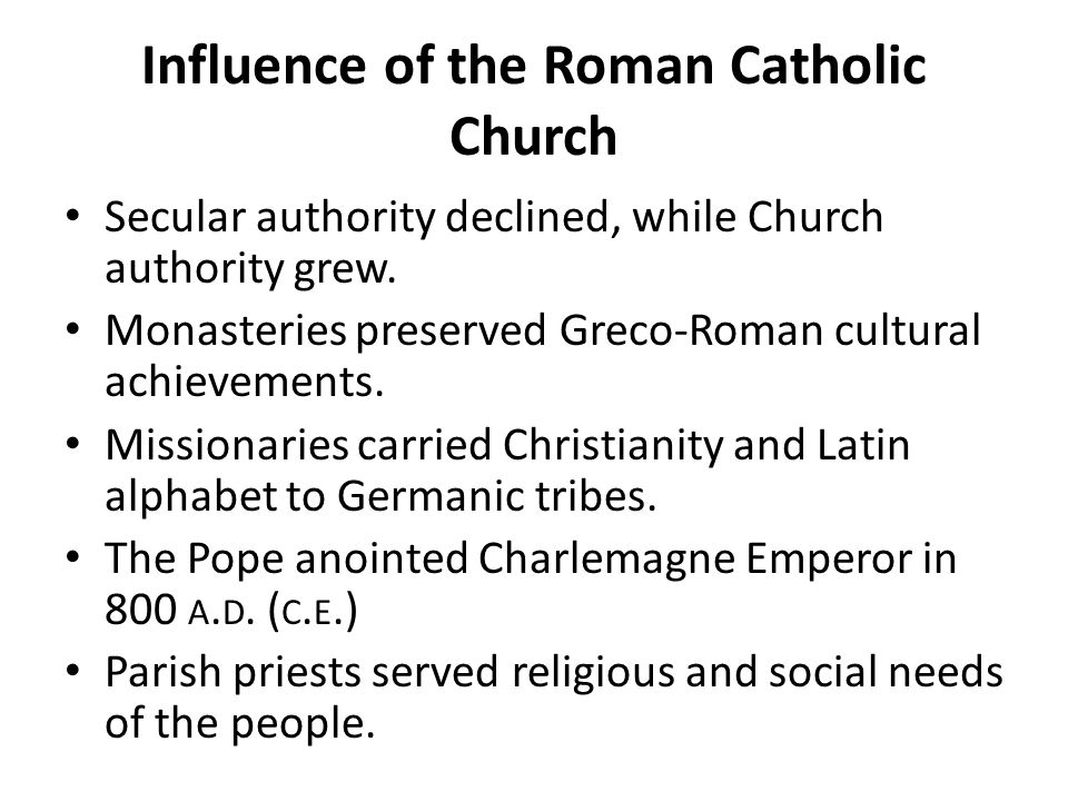 Influence of the Roman Catholic Church