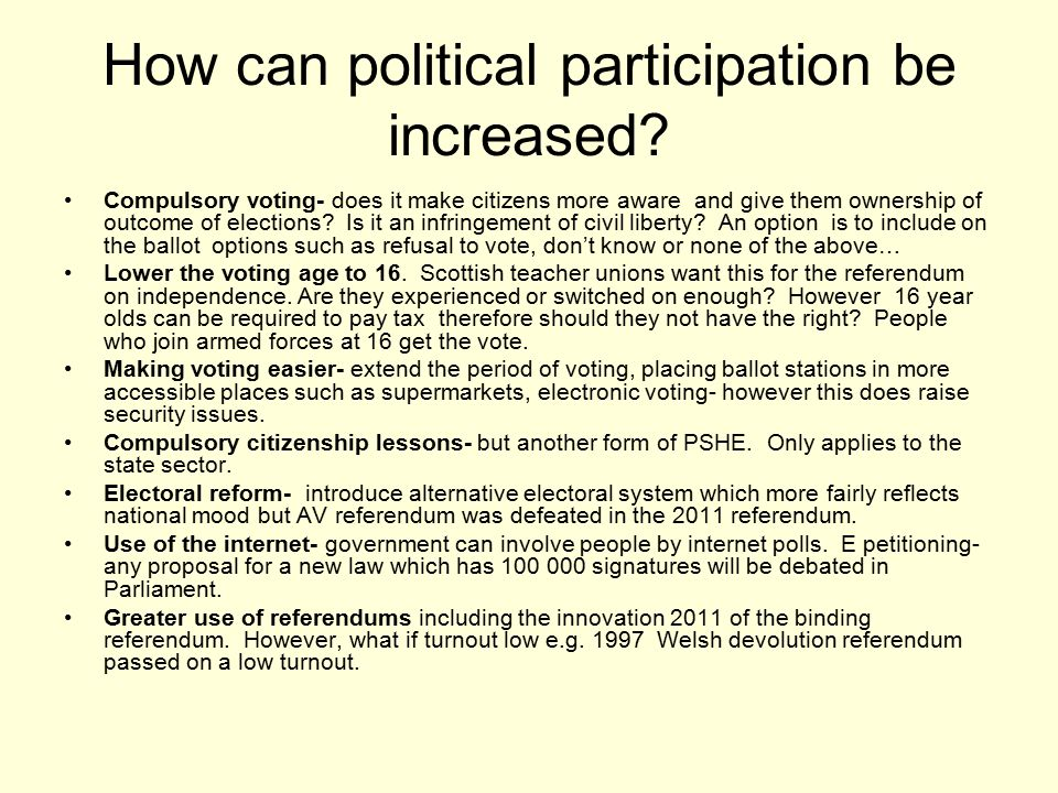 the internets effect on political participation We investigate the causal impact of broadband internet on political participation using data from italy we show that this impact varies across different forms of political engagement and over time initially, broadband had a negative effect on turnout in national elections, driven by increased.