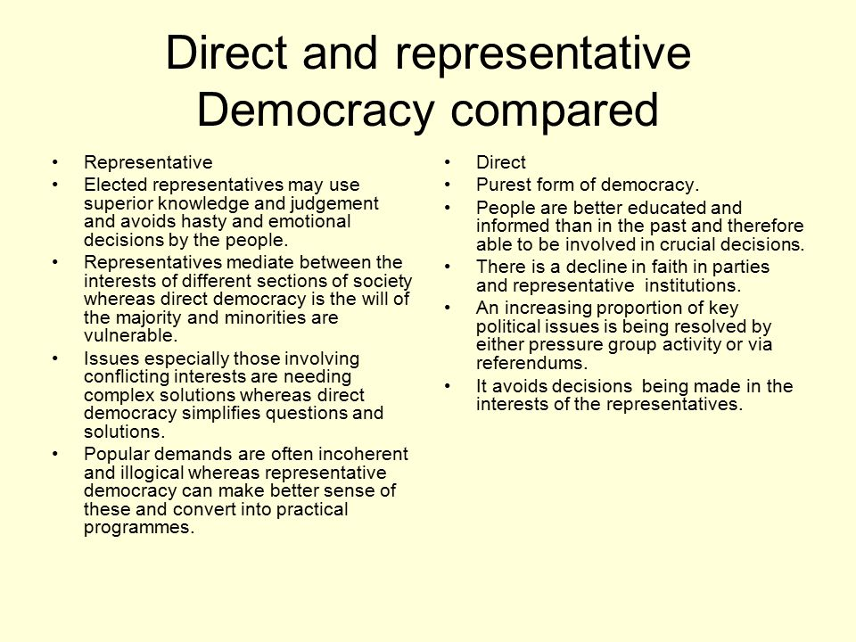 direct vs. representative democracy essay Direct the democracy theory rousseau's ideal society would be where the citizens were directly involved in the creation of the laws which are to rulers should represent what the public wants thus, out of direct democracy, is born a new form of government, the representative democracy.