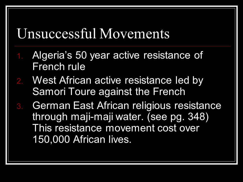 Unsuccessful Movements