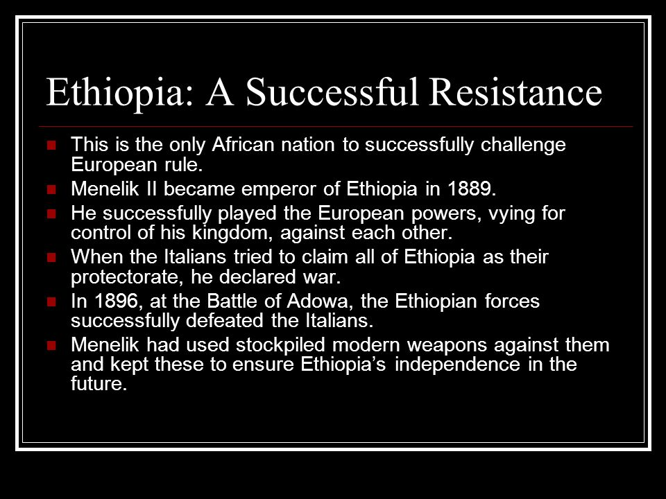 Ethiopia: A Successful Resistance