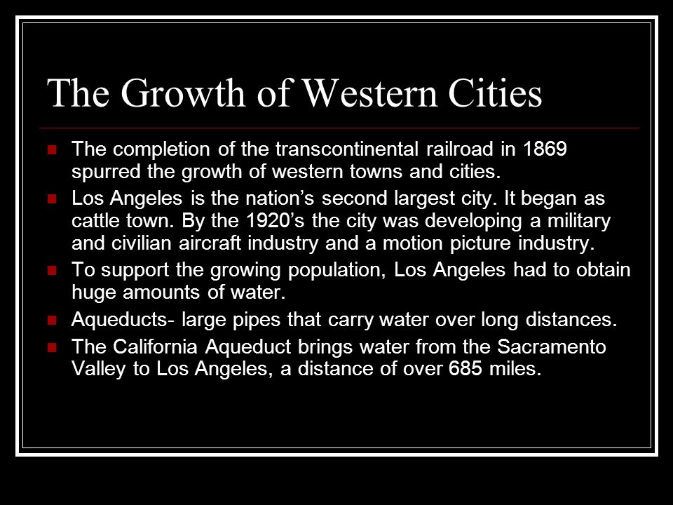 The Growth of Western Cities