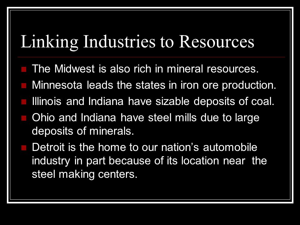 Linking Industries to Resources