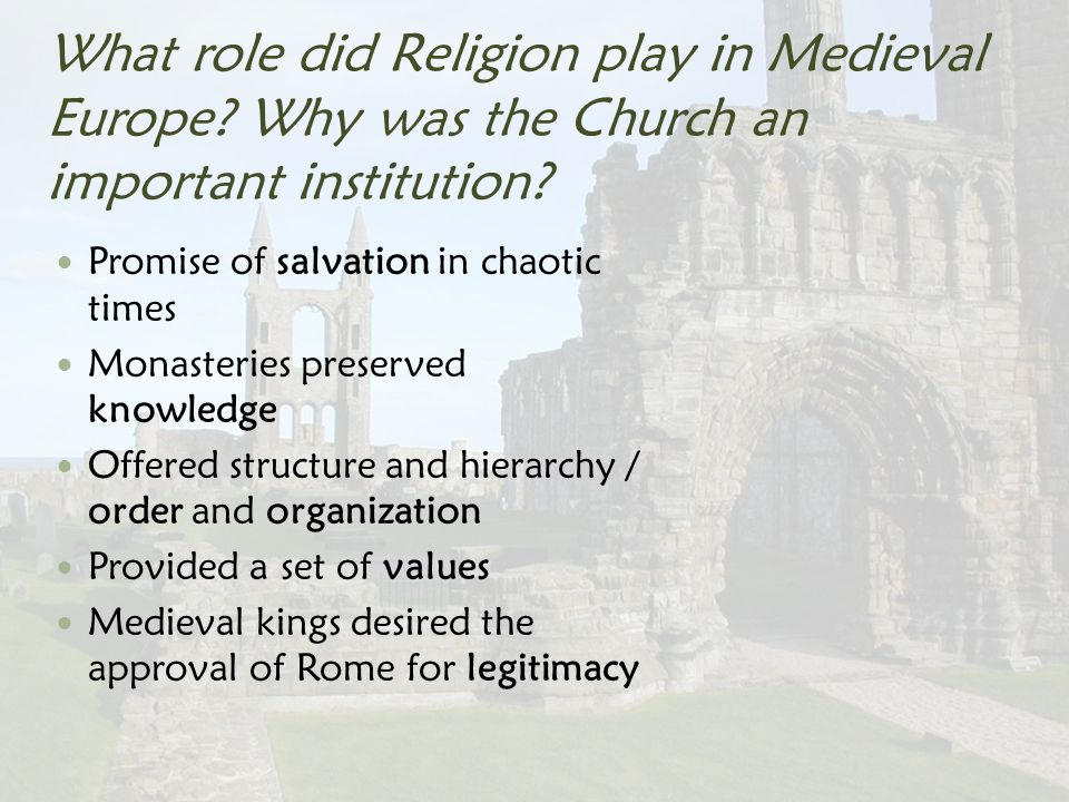 role of religion in europe During the period of 1524 until 1648, europe was plagued by wars of religion it is important to recognize, however, that while religion was given as the reason for.