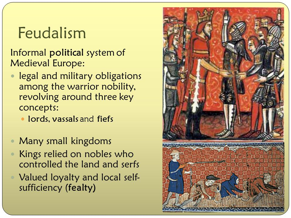 """feudalism and land Feudalism involved powerful or wealthier persons giving land, or the use of land, to poorer persons in exchange for services from those people a """"vassal"""" was a servant of a person of higher rank."""