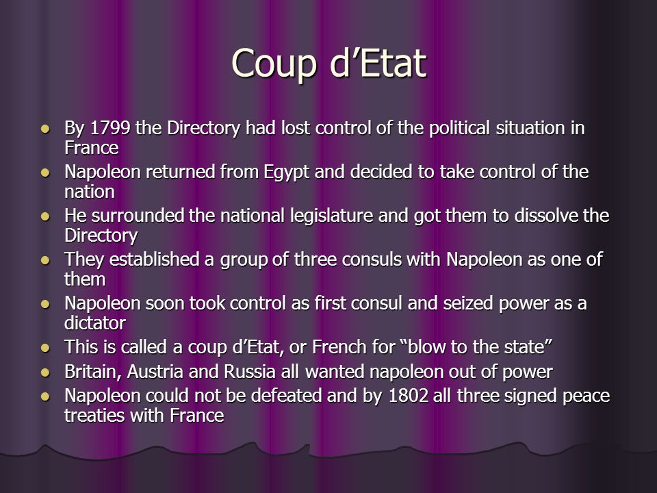 Coup d'Etat By 1799 the Directory had lost control of the political situation in France.