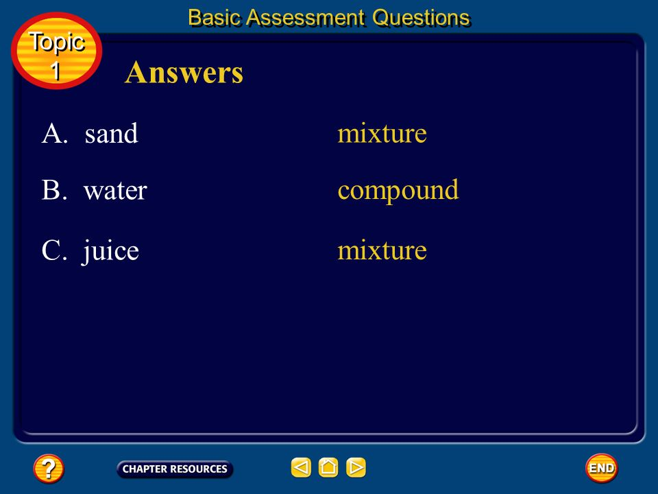 Answers A. sand mixture B. water compound C. juice mixture Topic 1