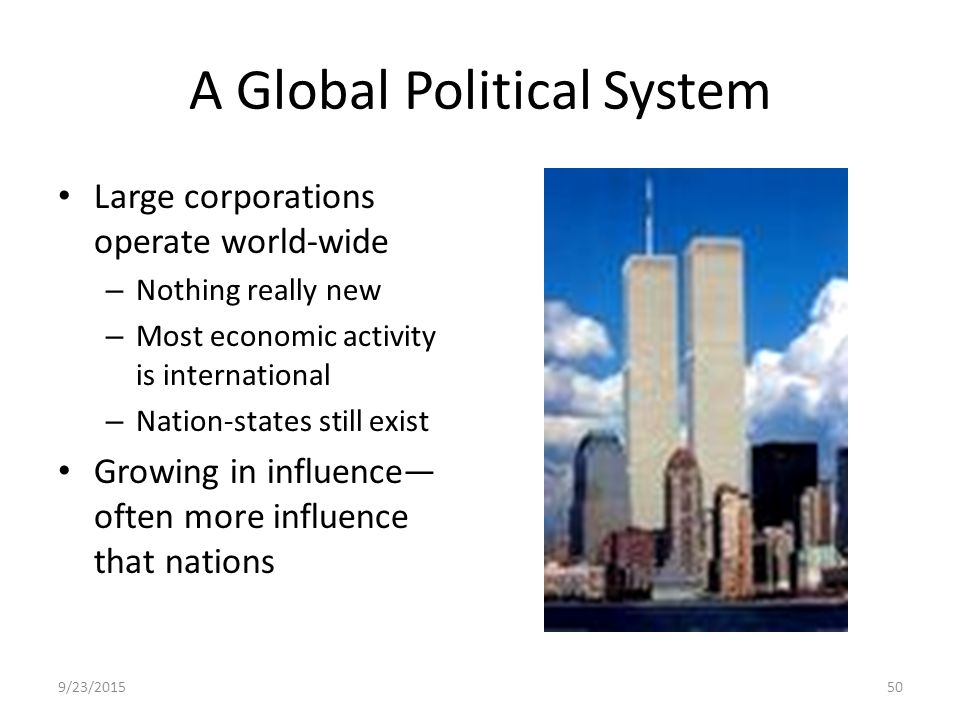 worlds political system governed by international Get an answer for 'what cultural, social, political, and economic impact did the europeans have on the new world' and find homework help for other history, english.