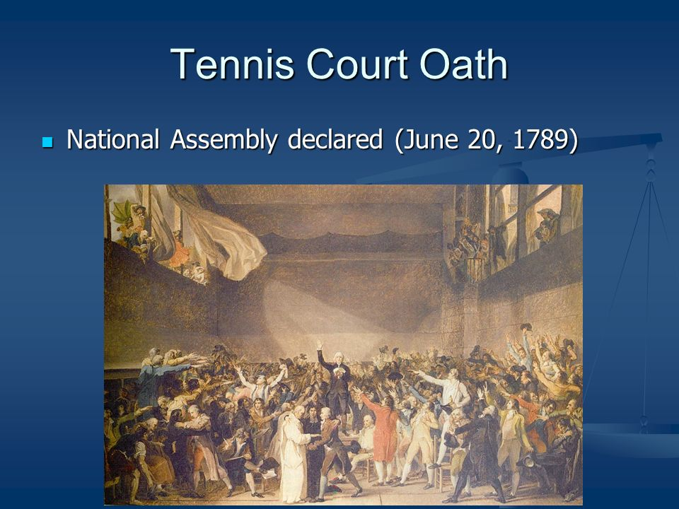 Tennis Court Oath National Assembly declared (June 20, 1789)