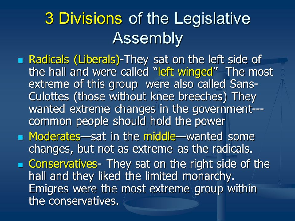 3 Divisions of the Legislative Assembly