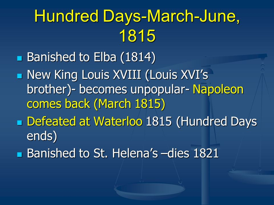 Hundred Days-March-June, 1815