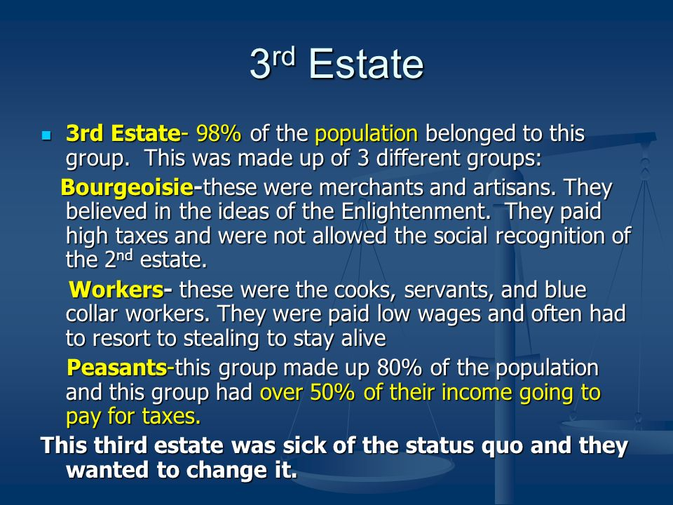 3rd Estate 3rd Estate- 98% of the population belonged to this group. This was made up of 3 different groups: