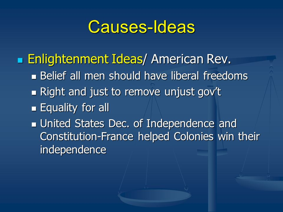 Causes-Ideas Enlightenment Ideas/ American Rev.
