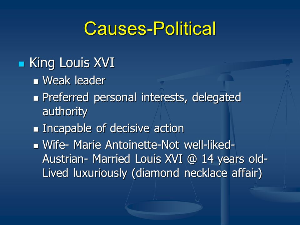 Causes-Political King Louis XVI Weak leader