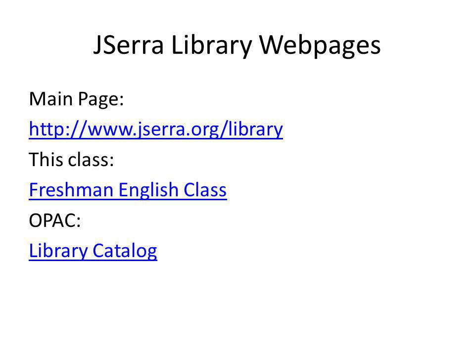 JSerra Library Webpages