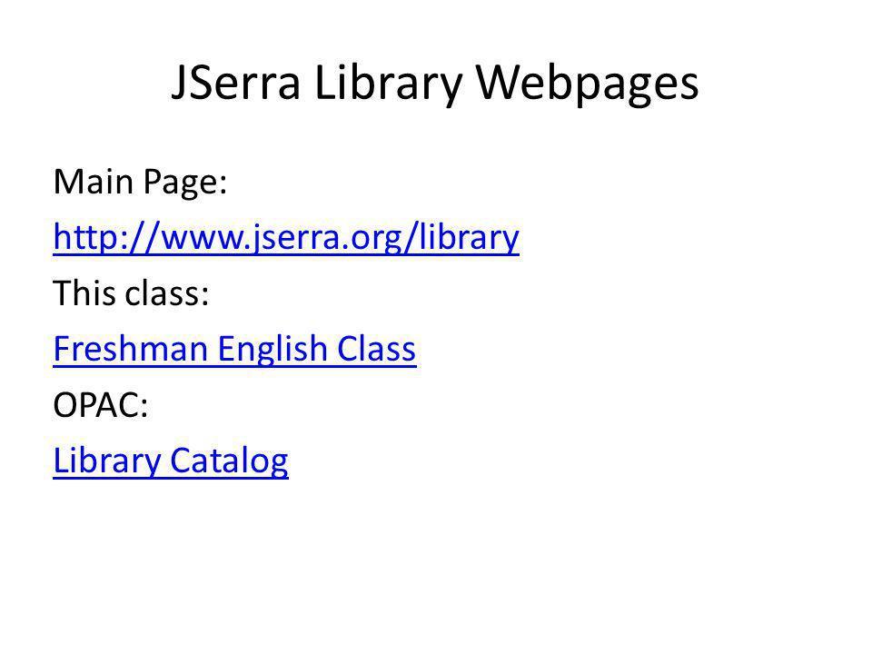 JSerra Library Webpages