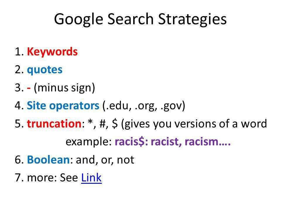 Google Search Strategies