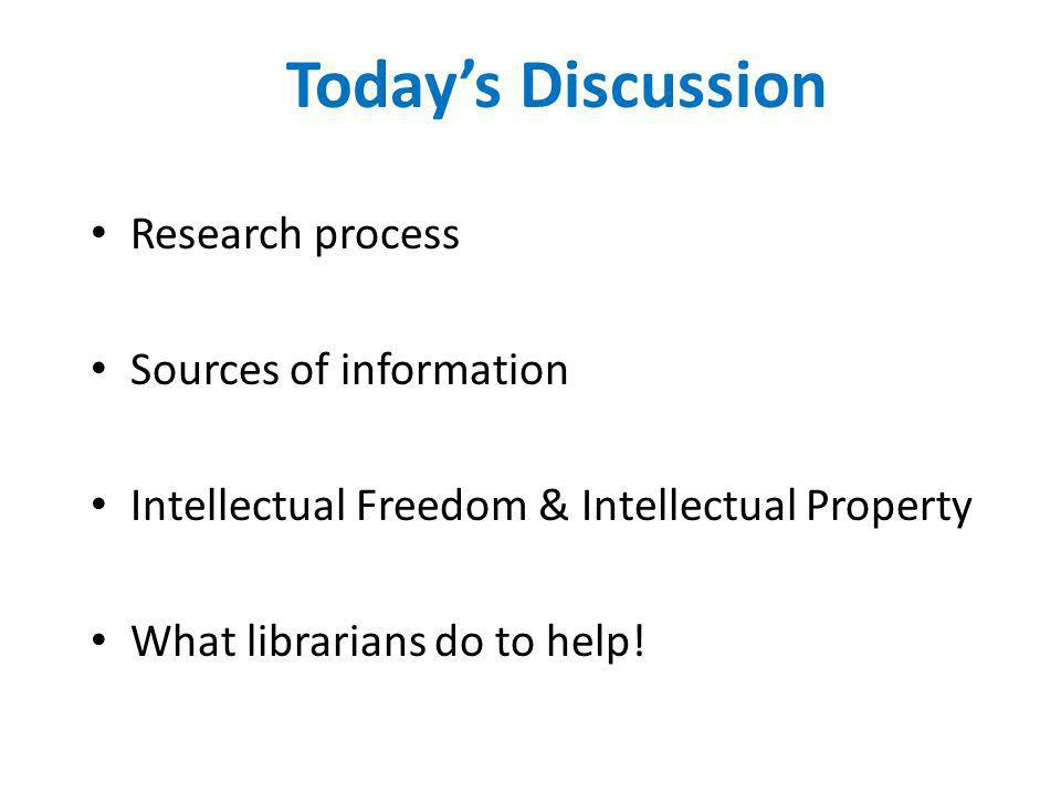 Today's Discussion Research process Sources of information