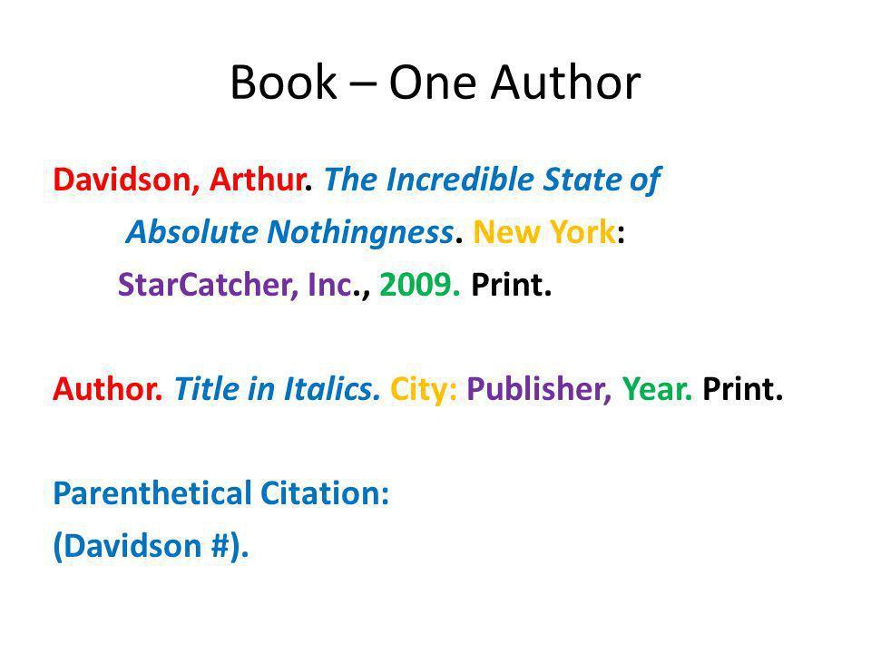 Book – One Author
