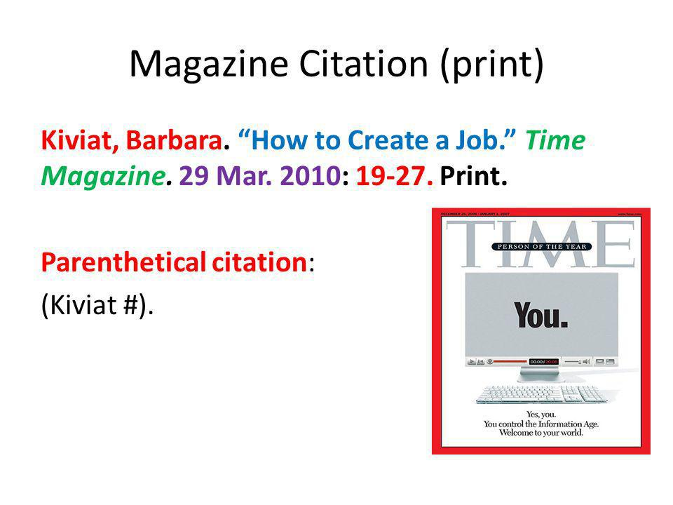 Magazine Citation (print)