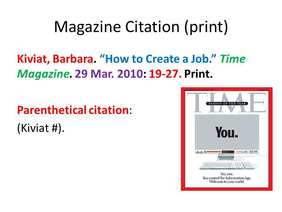 Magazine Citation (print)