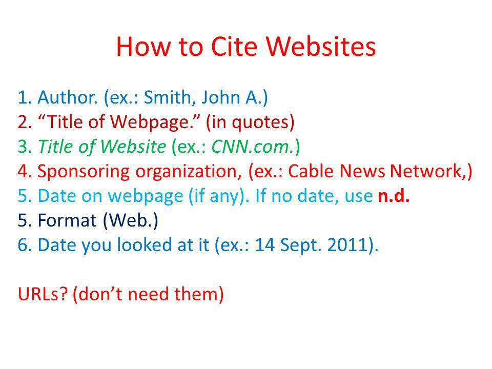 How to Cite Websites