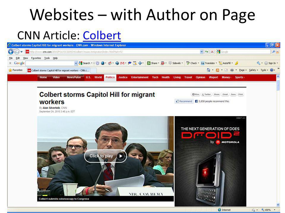 Websites – with Author on Page